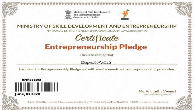 Certificates on Ministry of Skill Development & Entrepreneurship