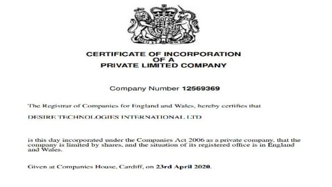 Registered our Company in UK, London on Kemp House